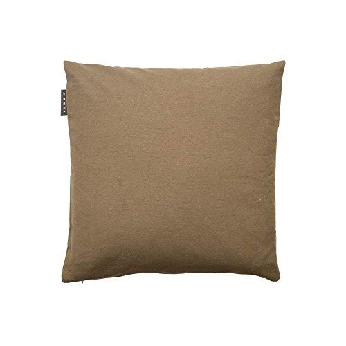 Linum Kissenhülle ANNABELL 50cm x 50cm uni 100% glatte Baumwolle mit Reißverschluss beigebraun