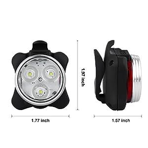 Luces Bicicleta Recargable LED, Luz para Bicicleta por USB Conjunto de Luces Delantera y Trasera para Bicicleta 4 Modo 800mAh Reflector Bici Seguridad Faro de Señal