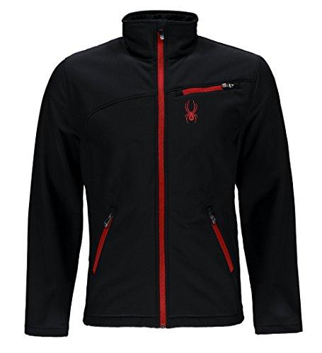Spyder Men's Softshell Jacket, Black/Racing Red, Medium