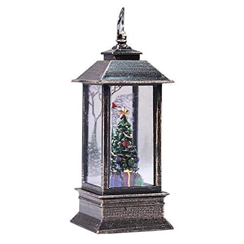 DASNTERED Lanterna di Natale a LED con Scena di Babbo Natale, Decorazione Lanterna da Esterno Vintage | Lanterne di Natale con luci notturne di Palle di Neve di Natale per Feste di Natale(Albero)