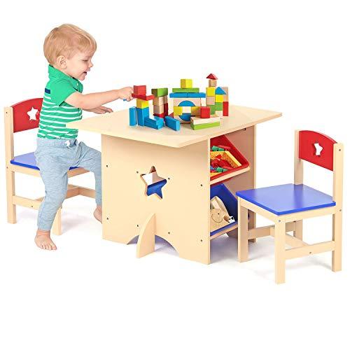 SmashingDealsDirect Juego de Mesa y Silla Infantil con diseño de Estrella de Madera, Juego de Mesa y 2 sillas con 4 Cajas de Almacenamiento. Star Design