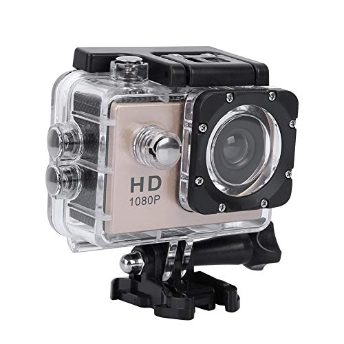 VBESTLIFE Sport Action Kamera, wasserdichte 1080p Unterwasserkamera mit 140 ° Weitwinkelobjektiv, 900mAh Akku, Unterwasser 30m(Gold)