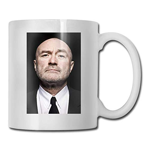 Lsjuee Phil Collins Las mejores ideas de regalos para el día del padre para tazas de café Taza divertida de regalo de Navidad Taza de bebida de personalidad 11.6 onzas (330