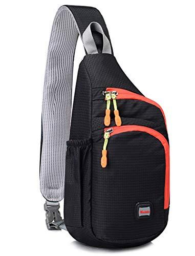 Gisdanchz Sling Bag Rucksack Herren, Brusttasche Herren Chest Bag Crossbag Daypack Schultertasche Brustbeutel Damen Jungen Umhängetaschen Herren Sporttasche Slingbag Klein Sport Wasserdicht, Schwarz