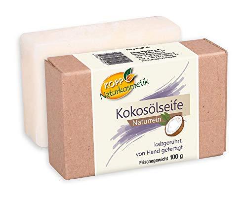Kopp Naturkosmetik Kokosölseife | vegan | Frischegewicht 100 g |Naturrein | von Hand gefertigt