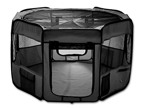 "ESK Collection 48"" Pet Puppy Dog Playpen Exercise Pen Kennel 600d Oxford Cloth Black"