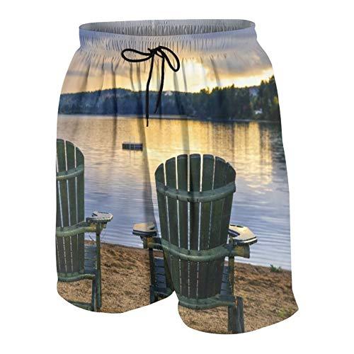 MAYBELOST Pantaloncini da Spiaggia da Uomo,Seaside Due sedie di Legno sulla Rilassante r, Calzoncini da Bagno ad Asciugatura Rapida Costumi da Bagno con Fodera e Tasche in Rete