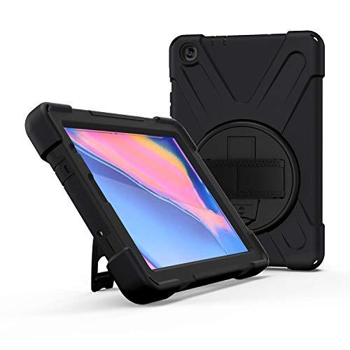 IVY 360 Degrees KickBracelete Caso Capa para Samsung Galaxy Tab A 8.0 with S Pen Case (2019) SM-P200/P205 Bracelete Caso with Faixa Wrist and Distância do ombro - Black