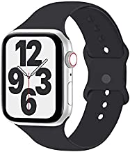 Idon Compatible for Apple Watch Bands 44MM/42MM S/M, Soft Silicone Replacement Sport Watchbands Compatible for Apple Watch SeriesSE/6/5/4/3/2/1 All Versions (Cocoa)