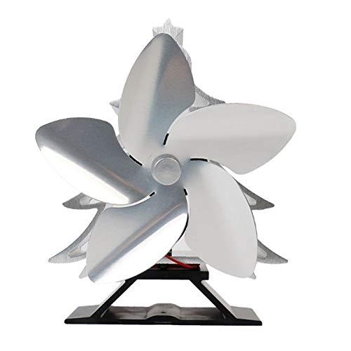 Estufas de leña Super Ofertas del árbol de navidad temático de la estufa de calor del ventilador accionado por registro de madera quemadores 5 hojas de calentador Estufa Ventilador de plata