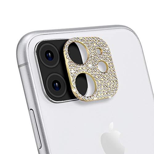 ICARER Bling Kamera Linse Schutzfolie für iPhone 11/iPhone 12 Mini, Diamant Kamera Objektivschutz Dekorationen Aufkleber Linse Protector Cover für Apple iPhone 11/iPhone 12 Mini (Gold)