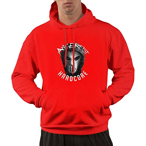 Men's Cotton Pullover Comfortable Hoodie Sweatshirt Print Angerfist Cotton Graphic 1 Hooded Shirts with Pocket,Red,3X-Large