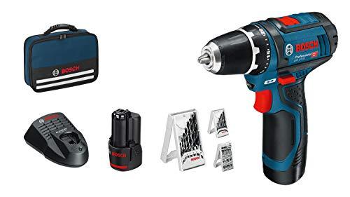 Bosch Professional 0615990GB0 GSR 12V-15 12V System Akkuschrauber (inkl. 2x 2,0 Akku, 39tlg-Zubehör-Set, in Tasche), 1 W, 12 V - Amazon Edition