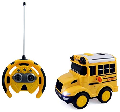 PowerTRC R/C School Bus Radio Control Toy Car for Kids | Steering Wheel Remote | Lights and Sounds