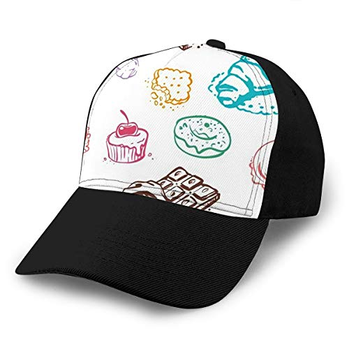 Baseball Cap Hats Adjustable Sweet Desserts Doodle Style Design Cake Ice Cream Cookie Donut Ch