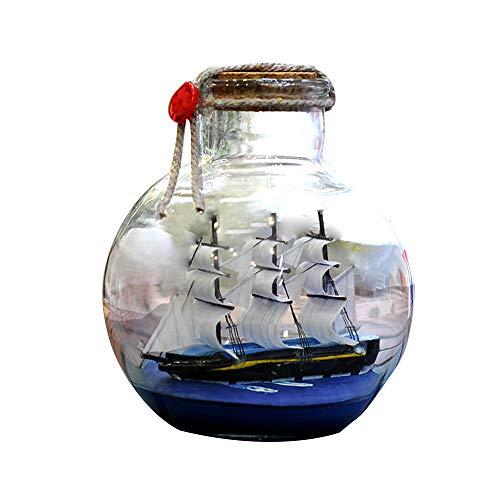 Kslogin Barco de vela en botella de deriva mediterránea de cristal pirata que desea náutica para el hogar regalos artesanías