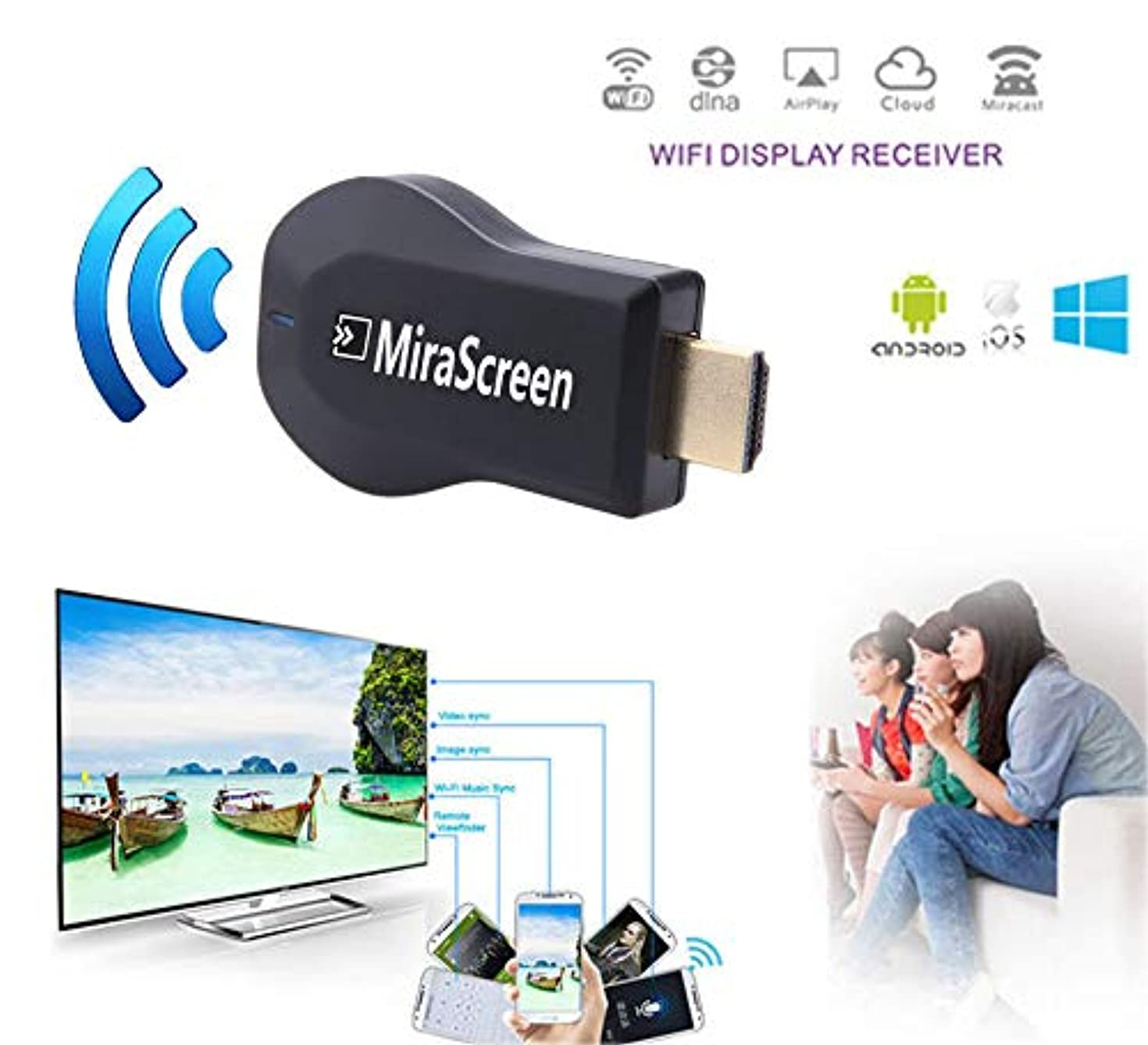 Wireless WiFi Display Dongle Screen Mirroring Adapter Airplay DLNA Miracast 1080P Video Receiver Phone to HDMI TV for iPhone Xs MAX XR X 6 7 8 Plus iOS/Android/HDTV/Projector
