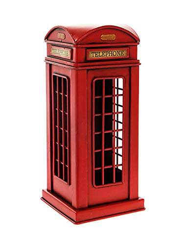 Vintage Rustic Effect Tin Metal London Red Telephone Booth Money Box Model/Ornament - Boxed Gift