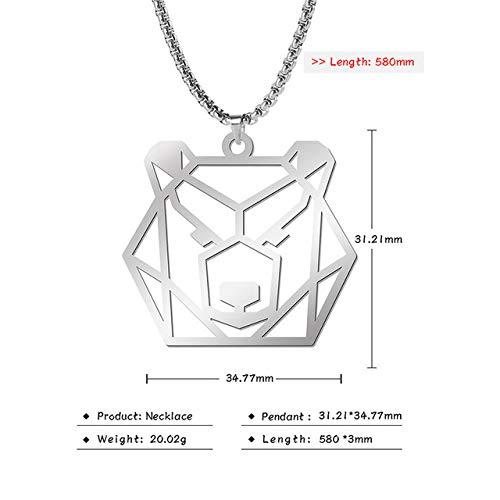 ZHOUBINBIN Barre Cave in Acciaio Inox Design Gioielli Animale Geometrico Collana Pendente per La Donna E Uomo, 23'' Box Catena,Recare Un
