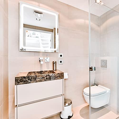 APLIKE BATHROOM LIGHTING Espejo de baño Cuadrado 80x80cm con Perfil LED de Esquinas Redondas de 30w con función antivaho. Luz Blanca y Potente (5700 K) de eficiencia energética A+.