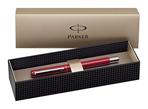 Parker Vector Standard S0282490 - Pluma estilográfica y caja (rellenable, punta F, tinta azul), color rojo