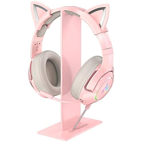 ONIKUMA Soporte para auriculares de color rosa,  soporte para auriculares con base estable para auriculares ONIKUMA K9 y todos los auriculares
