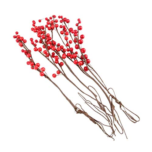 JXHYKJ 5Pcs Artificial Holly Berries Branch Red Foam Cherry Little Fruits Christmas Wedding Birthday Crafts Wreath DIY Home Decoration