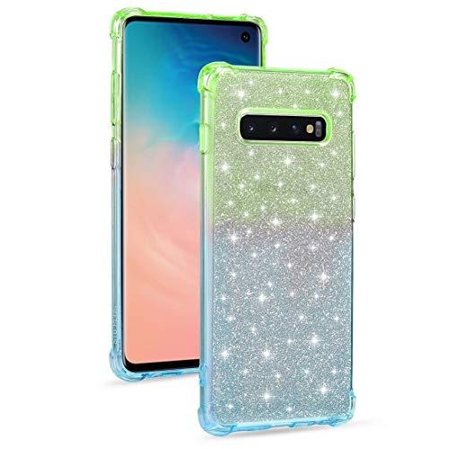 MKOKO Durable For el Caso Protector de TPU for Samsung Galaxy S10 Plus Gradiente Polvo del Brillo a Prueba de Golpes (Color : Green Blue)