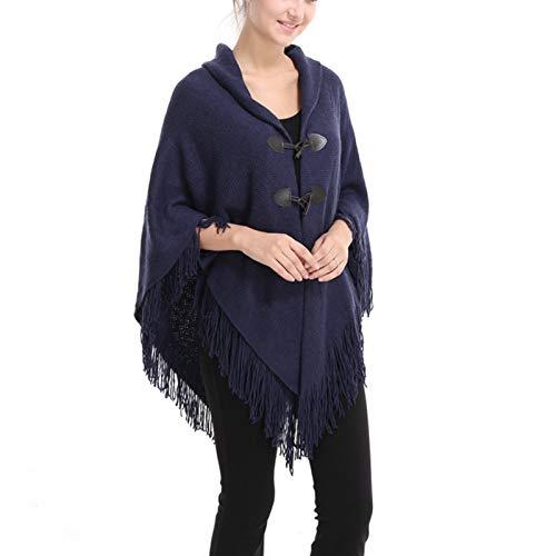 GAOHONGMEI Poncho de punto con cuello en V para mujer, color sólido irregular y botones con flecos de doble capa, bufanda, abrigo de suéter azul 120 cm