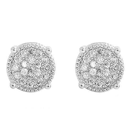 Pendientes De Plata 925 con Halo De Diamantes Sintéticos Redondos Brillantes con Circonita Cúbica En Oro Rosa, Oro Blanco Y Oro Amarillo,Plata