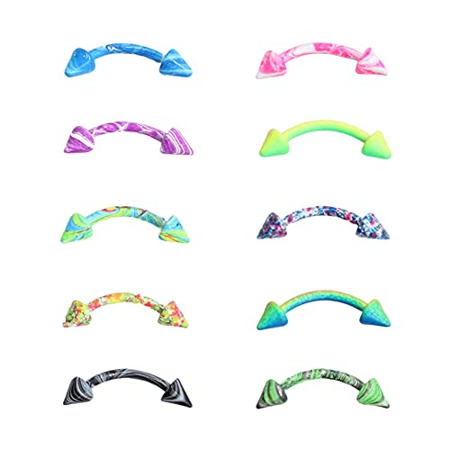 Flechazo 16G Piercing Ceja Joyería Rook Daith Pendientes Barbell Curvado Acero Quirúrgico Oreja Anillo Barra 8mm Multicolor, 3 Opciones