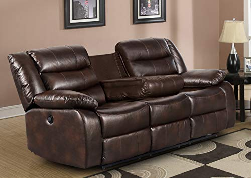 Container Furniture Direct Adeline Mid Century Modern Leatherette Living Room Reclining Sofa, 78' Brown