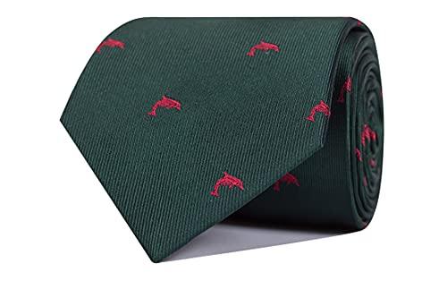 CARLO VISCONTI - Corbata de Hombre - Motivo Delfín - Verde y Rojo - Tejido Jacquard 100% Seda Natural - Forro de Lana y Algodón - Corbata de Hombre Original - Regalo para Caballeros