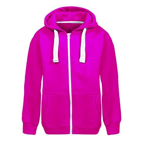 Unisex Boys Girls Plain Zip Up Hooded Sweatshirt Hoodies Top Jumper School Wear Hoodies UK Size 7 13 Years Fuchsia 13 Years