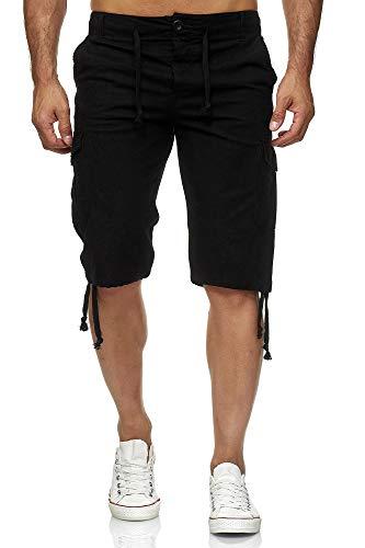 Reslad Leinen Cargo Shorts Männer Strandhose Herren Leinenhose 3/4 Hose Freizeit Kurze Hosen Sommer Bermudas RS-3001 Schwarz 2XL