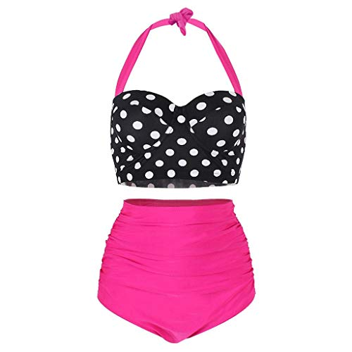 WOCACHI Womens Polka Dot High Waist Swimsuit, Bikinis Swimwear Female Retro Beachwear Conservative Bikini Set 2020 New Summer Deals Under 10 Dollars Beach Bathing Suit