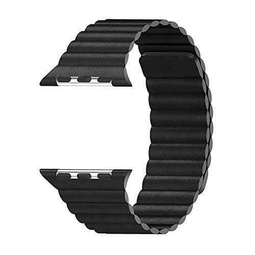 WAY-KE Correa De Cuero Ajustable con Sistema De Cierre Magnético para La Serie Iwatch 5/4/3/2/1 Compatible con Apple Watch Band 44Mm 42Mm 40Mm 38Mm,Negro,38MM