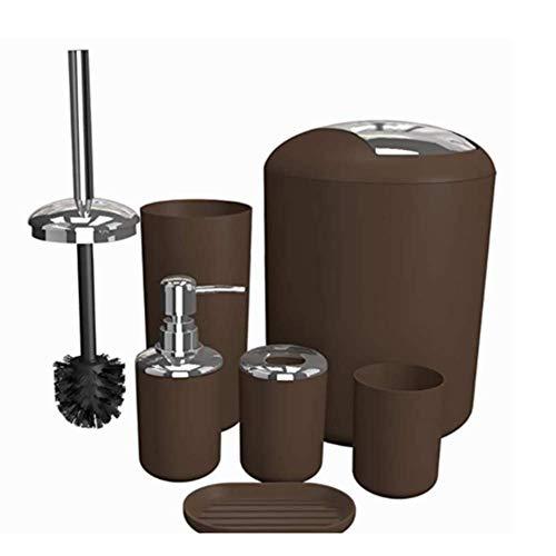 JUNGEN Badezimmer-Toiletten-Set 6-teiliges Badzubehör Seifenspender mit Lotionspender, Mülleimer, Zahnbürstenhalter, Zahnputzbecher, Toilettenbürste und Seifenschale