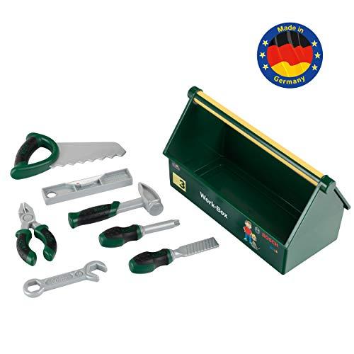 Theo Klein 8573 7-teiliges Werkzeug-Set I Stabile Box mit praktischem Tragegriff I Maße: 30,25 cm x 14 cm x 17,25 cm I Spielzeug für Kinder ab 3 Jahren