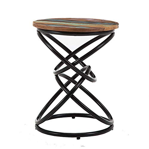 FMOGE End Tables Nordic Coffee Table Living Room Solid Wood Painted Desktop Sofa Side Table Round Corner Table Bedroom Bedside Table,15.7''x23.6''