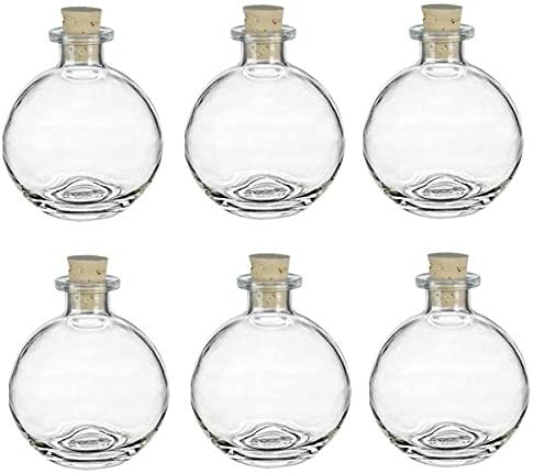 Nakpunar 6 pcs Spherical Glass Bottles with Cork Bottle Stopper 6 8 5 oz Clear product image