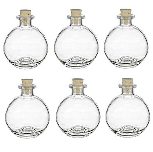 Nakpunar 6 pcs Spherical Glass Bottles with Cork Bottle Stopper (6, 8.5 oz Clear)