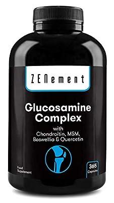 Glucosamin Komplex mit Chondroitin, MSM, Boswellia und Quercetin, 365 Kapseln | GMO-frei, frei von Zusatzstoffen, glutenfrei, GMP | von Zenement