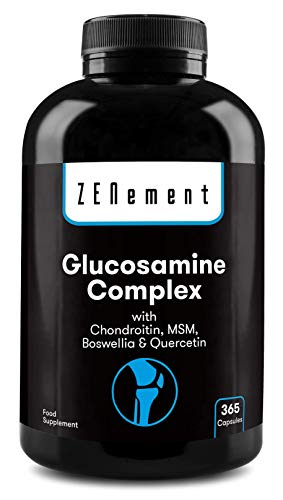 Glucosamina Complex con Condroitina, MSM, Boswellia y Quercetina, 365 Cápsulas | Para el dolor en las articulaciones | No-GMO, GMP, sin aditivos, sin Gluten | de Zenement