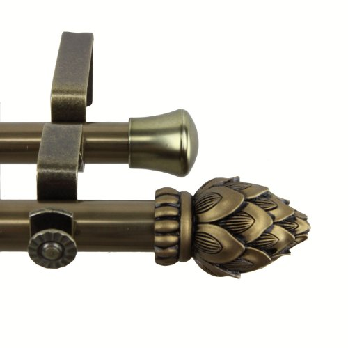 Rod Desyne 4707-484 Bud Double Curtain Rod, 48 by 84-Inch, Antique Brass