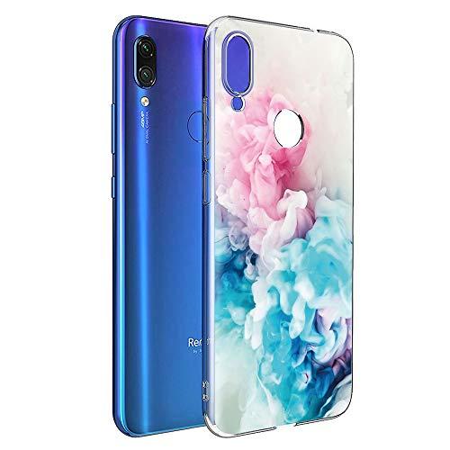 ZhuoFan Funda Xiaomi Redmi Note 7, Cárcasa Silicona Transparente con Dibujos Diseño Suave TPU Antigolpes de Protector Piel Case Cover Bumper Fundas para Movil Xiao mi Redmi Note7, Rosado Azul