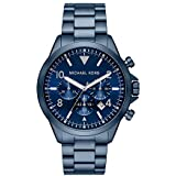 Michael Kors Men's Gage Quartz Watch with Stainless Steel Strap, Blue, 22 (Model: MK8829)