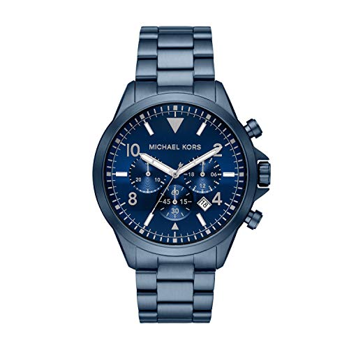 Michael Kors Men's Gage Quartz Watch with Stainless Steel Strap, Blue, 22 (Model: MK8829)