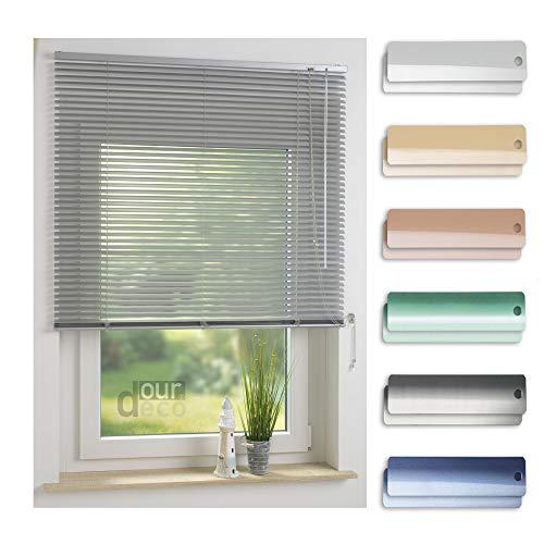 ourdeco® Aluminium-Jalousie / 200 x 160 Silber (Breite x Höhe) / Montage an Wand oder Decke, Premium Alu-Jalousie