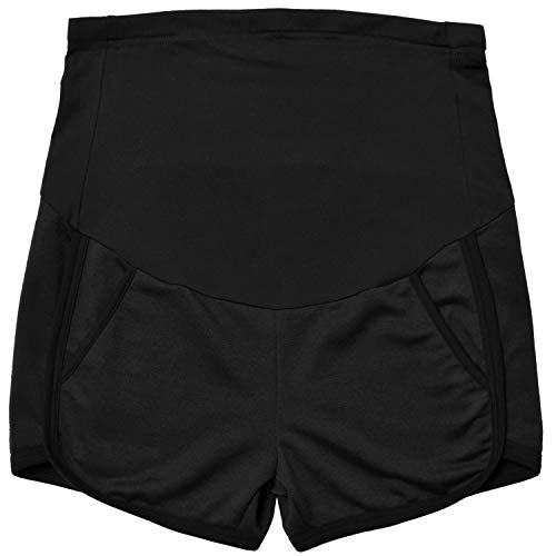 GINKANA Maternity Shorts Summer Running Workout Relaxed Fit Stretchy Full Panel Short Pants,Black,L